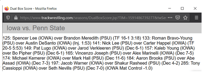 Box Score Directly on Trackwrestling's OPC Page